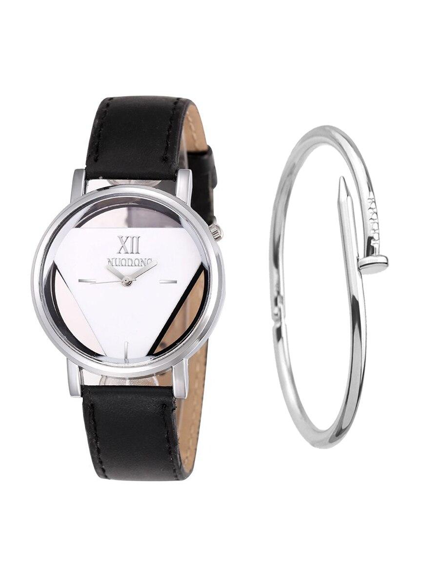 GEEKTHINK, reloj de cuarzo hueco para mujeres, marca de lujo, dorado, para mujeres, vestido informal, correa de cuero, relojes para hombres, Marca top lujosa