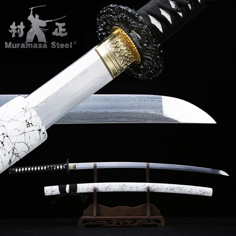 Espada acero plegado japonés serie-espiga completa afilada lista para cortar paja-madera Saya-41Inches Katana Real/Blanco/negro