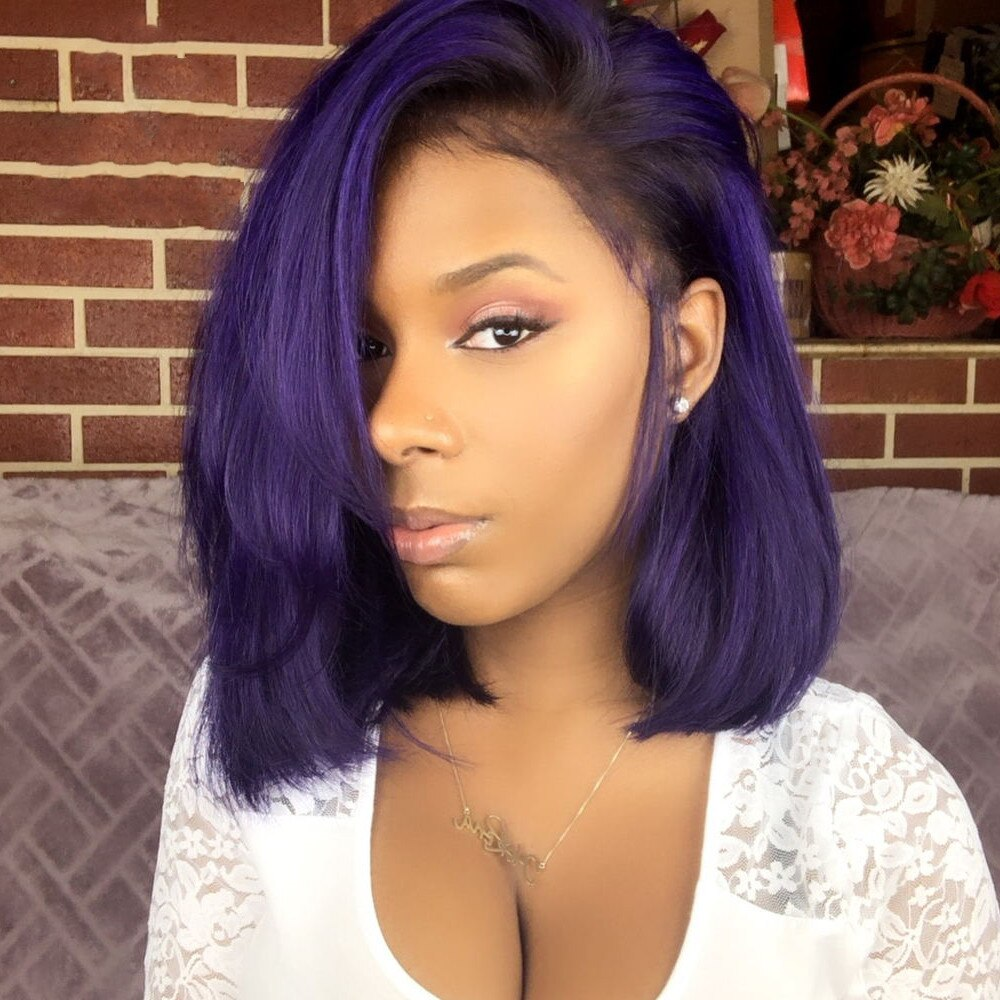 Ombre 1B Dark Purple Short Bob Brazilian Lace Front Human Hair Wig Ombre Straight Human Hair Wigs 180 Density