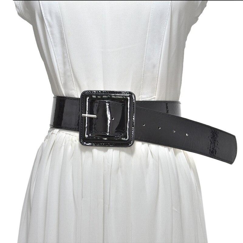 ¡Moda 2020! Cinturón ancho de piel sintética de Color liso para mujer, cinturones de cintura en blanco y negro, cinturón de hebilla cuadrada para vestido de mujer