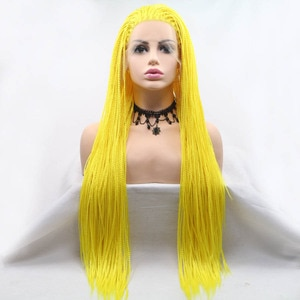 Yellow Color Wig Long Braided Box Braids Lace Frontal Wigs Heat Resistant Fiber Hair Cosplay Synthetic Lace Front Wig For Women