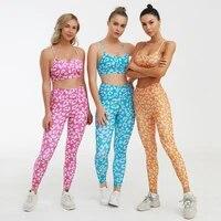 leopard printed yoga sets women seamless workout sets 2 pcs set women fitness bra and seamless leggings for women active wear