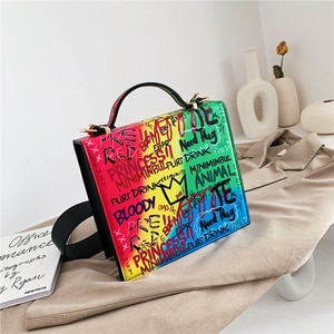 2021 Colorful Doodle Shoulder Top Handle Bags For Women Large Square PU Leather Luxury Designer Crossbody Bag Casual New Fashion