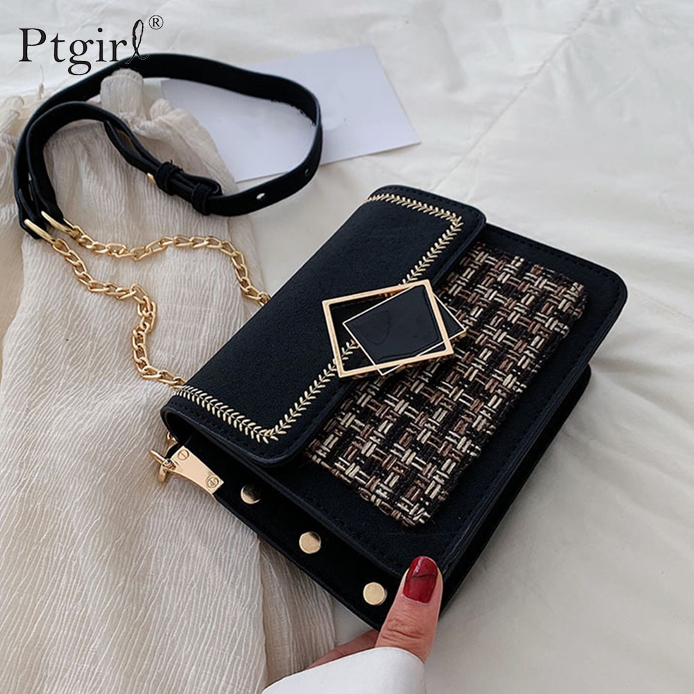 Scrub Leather Weave Crossbody Bags For Women 2019 Ptgirl Chain Shoulder Messenger Bag Female Luxury Handbags Purses Scrub Bags