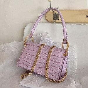 Crocodile Pattern Design Small Chain Armpit Shoulder Handbags for Women 2021 Spring New Trend Fashion Pu Leather Crossbody Bags