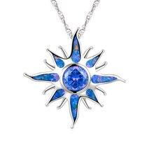 Punk Übertreibung Opal Anhänger Halskette Trendy Feuer Flamme Sonne Lange Kette Halskette Für Männer Frauen Stilvolle Schmuck Zubehör