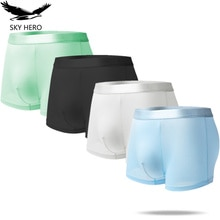 4pcs Sexy Homme Boxers Shorts for Man Underwear Ice Silk Male Underpants Men All Blacks Panties Slip