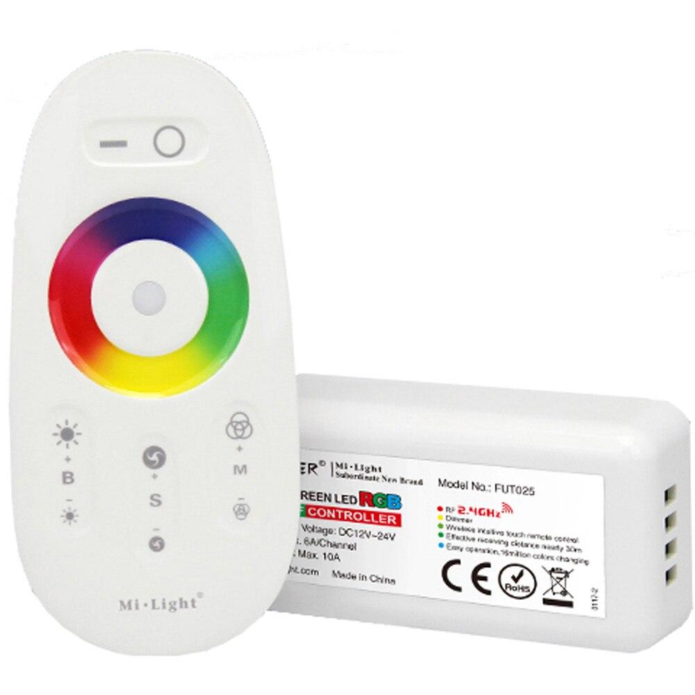 Milight FUT025 FUT027 2,4G, pantalla táctil inalámbrica RGB RGBW, controlador LED, mando a distancia RF 18A para tira LED r DC12-24V