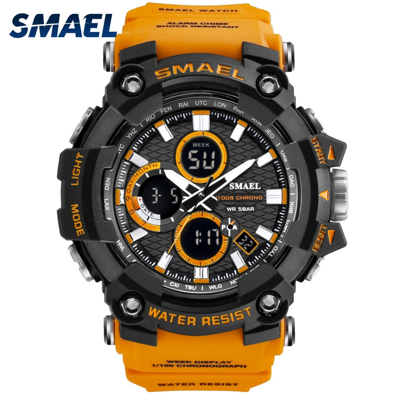 Sport Watch Dual Time Men Watches 50m WaterproofMale Clock Military Watches for Men 1802D Shock Resi