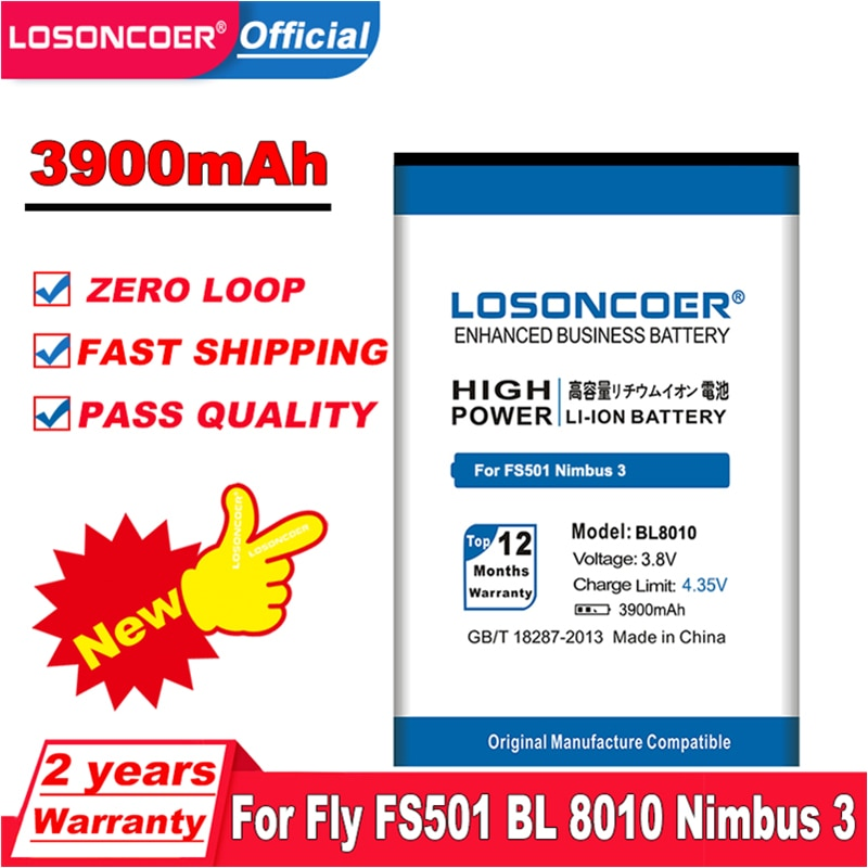 LOSONCOER 3900mAh BL8010 Batterie für Fly FS501 BL 8010 Nimbus 3