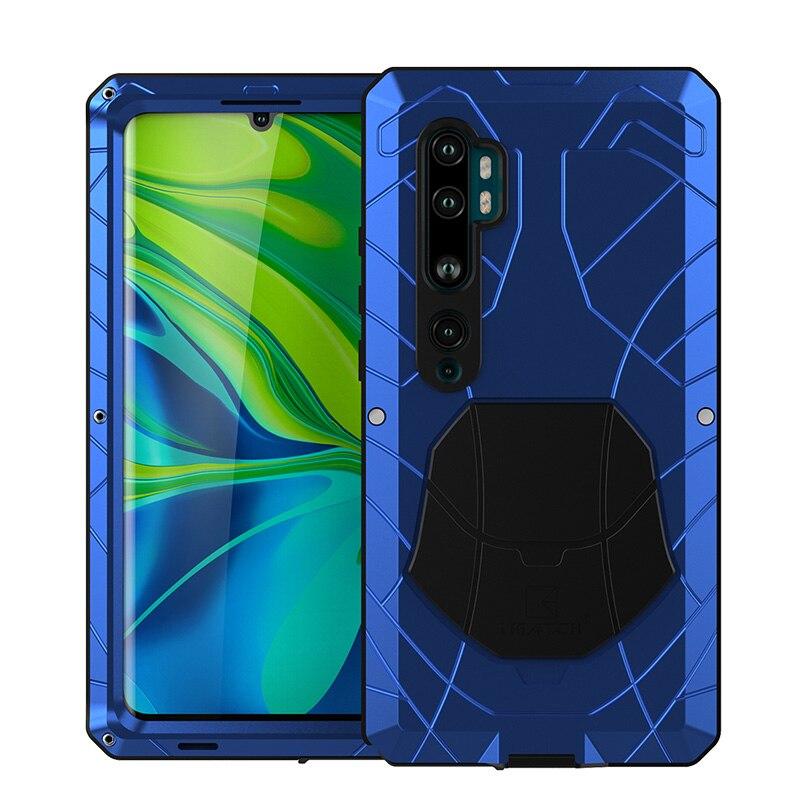 ل شاومي Mi نوت 10 10 برو قضية الهاتف الصلب الألومنيوم معدن الزجاج المقسى حامي الشاشة الثقيلة غطاء ل شاومي نوت 10