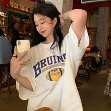 Summer Loose Mid-Length Short Sleeve T-shirt For Women Tshirt Harajuku Tops Korean Aesthetic Kawaii