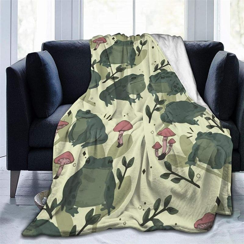 ضفدع الوقت الفطر نافاجو كوبري كامارا الأخضر رمي بطانية ثلاثية الأبعاد الطباعة على الطلب شيربا سوبر مريحة ل أريكة رقيقة لحاف