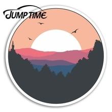 Tiempo de salto para Pink Sunrise vinilo pegatinas sol pegatina de bosque Laptop ventana calcomanía impermeable accesorios de coche