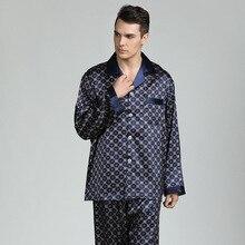Automne tache soie pyjama ensemble hommes pyjamas vêtements de nuit en soie hommes Sexy doux confortable Satin chemise de nuit