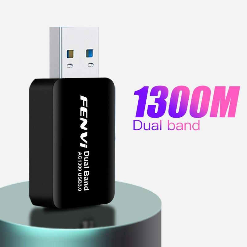 Миниатюрный USB Wi-Fi адаптер, 1300 Мбит/с, сетевая карта Lan для ПК, Wifi ключ, двухдиапазонный 2,4G/5G Беспроводной Wi-Fi приемник для настольного ПК и ноу...
