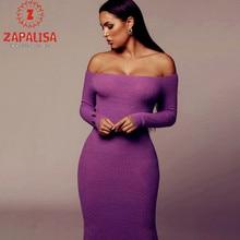 Zapalisa Solid Color Elegant Streetwear Long Sleeve Knit Winter Dress Slash Neck Off Shoulder Sexy Slim Bodycon Dress Long