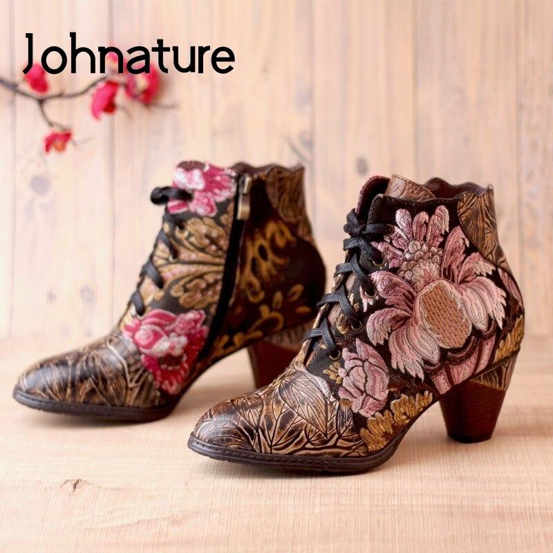 Johnatang-أحذية نسائية من الجلد الطبيعي مع تطريز ، أحذية نسائية بنعل سميك ، جلد طبيعي ، سحاب ، مقدمة مستديرة ، أربطة متقاطعة ، مرسومة يدويًا