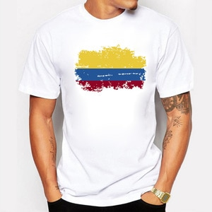 Summer Colombia Fans Men T shirt Short Sleeve Round collar Tops Colombia Flag Style Hip Hop T-shirt For Men
