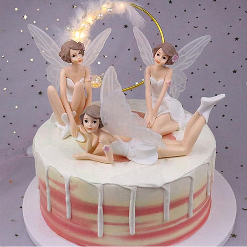 Оптовая продажа, 3 шт.-упаковка, Цветочная фея с крыльями из ПВХ, украшение торта, украшение для дома, кукла, принцесса, игрушка для девочек