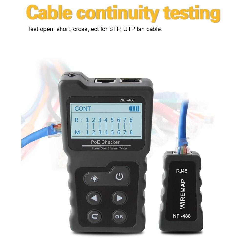 Многофункциональный ЖК-тестер сетевого кабеля тестер тока с кабелем тестер с портом PoE проверки встроенного напряжения PoE rj45 lan тестер инструменты