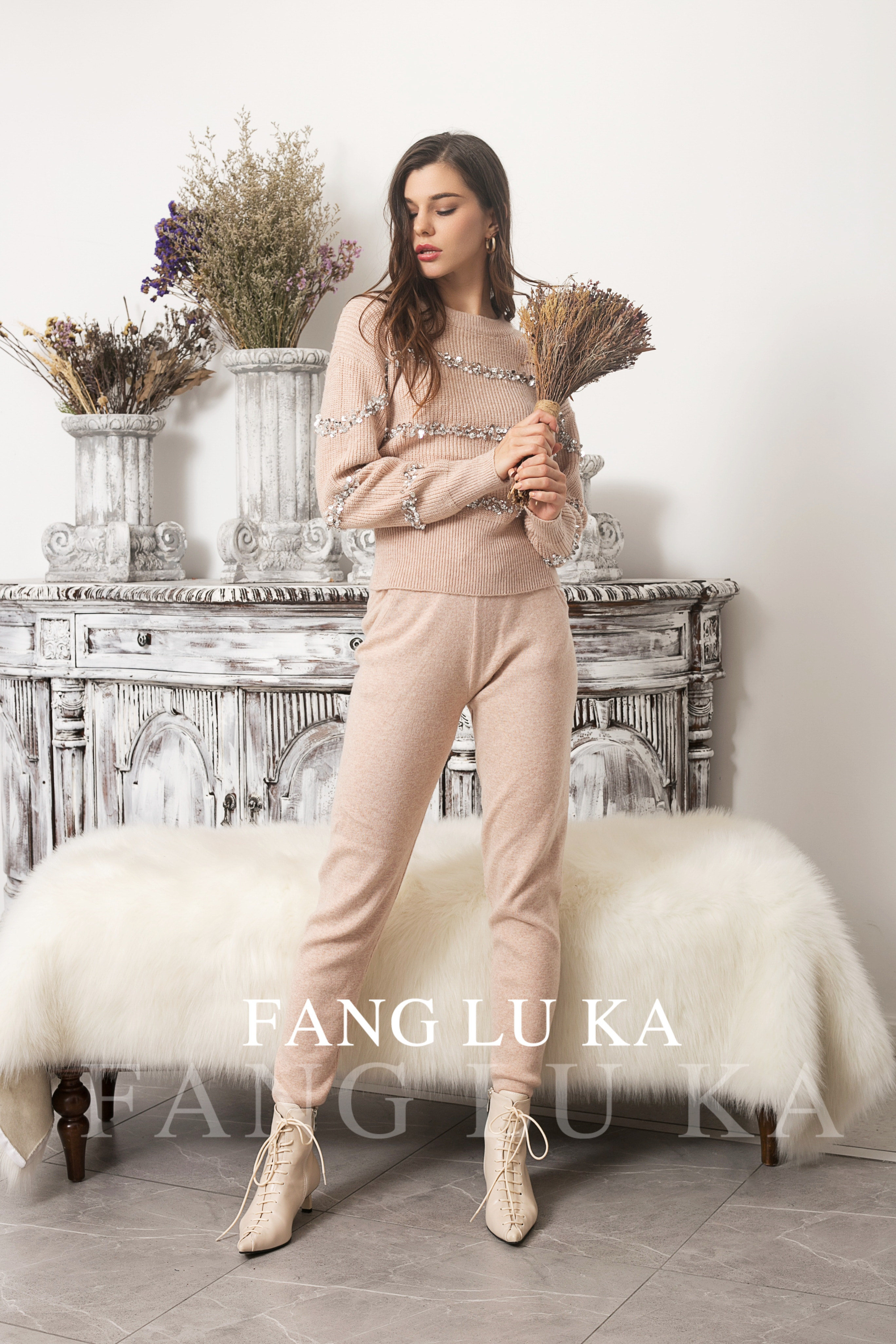 Cashmere Knitting Suit Women's  Two Piece Set Fashion Foreign Style Sequin Beaded Sweater Leggings Two Piece Set enlarge