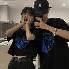 2021 Summer New Korean Style Ins Super Popular Kooky Girl Print O-neck Short Sleeve T-shirt Top Men
