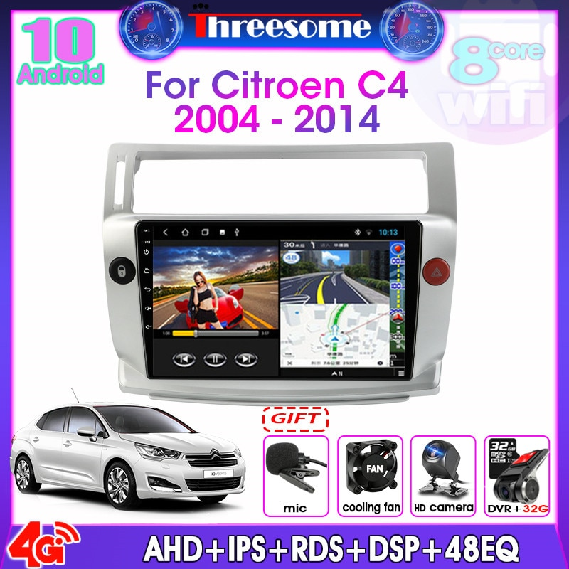 Android 10,0 8 Core 2 DIN Auto Radio Für Citroen C4 C-Triomphe C-Quatre 2004-2014 multimedia Video Split Screen player RDS DSP GPS