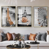 grey retro flower ferris wheel city building nordic minimalist style art canvas poster printing home decoration painting picture
