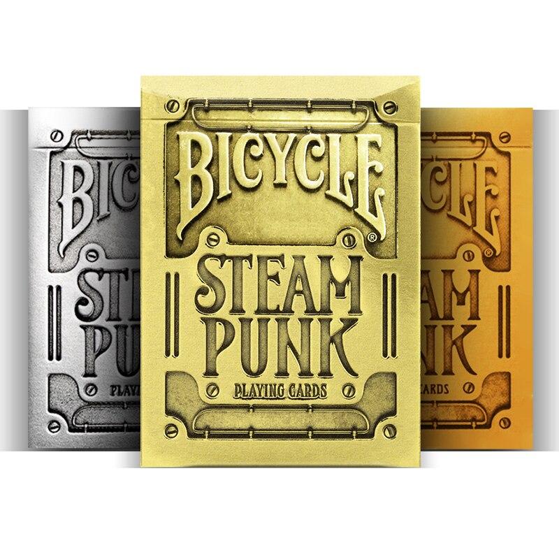 Cartas de juego Steampunk para bicicleta, cartas mágicas de póquer con cubierta de oro, plata y bronce, accesorios de magia, trucos de magia para mago profesional