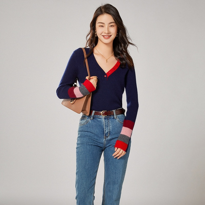 2021 woman winter 100% Cashmere sweaters knitted Pullovers jumper Warm Female V-neck blouse Patchwork long sleeve clothing enlarge