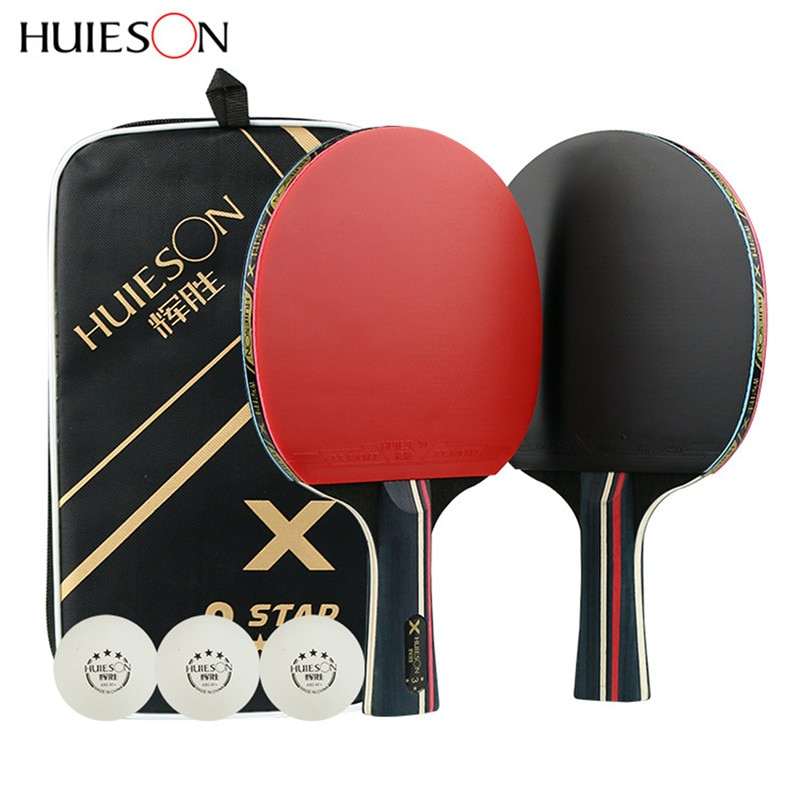 2 шт 3 звезды настольный теннис ракетка длинный кабель короткая ракетка для пинг-понга ракетка набор с сумкой 3 шарика двухсторонняя с бугорками