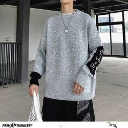Privathinker moda carta impressa camisolas masculinas 2020 outono quente de malha homem casual manga longa pullovers camisola masculina coreana