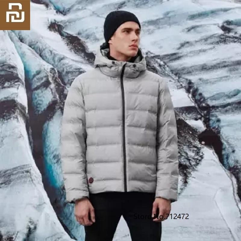 Xiaomi Cottonsmith, chaqueta de plumas de ganso blanca con calefacción controlada por temperatura para hombre, abrigo cálido de lujo resistente al viento 90%