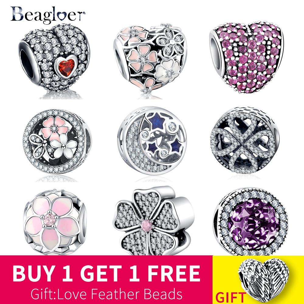 100% 925 Sterling Silver Heart Flower Zircon Beads Pendant Fit Original Pandora Charms Bracelets DIY