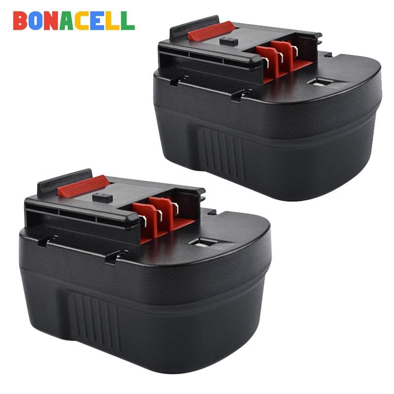 Bonacell 2Pcs 3500mAh Ni-MH HPB14 Replacement Power Tool Battery For Black Decker 499936-34 499936-35 A144 A144EX A14 A14F HPB14