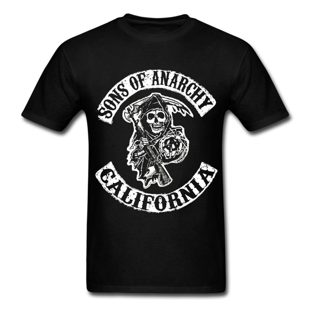 Camiseta estampada de alta definição sons of anarchy masculina 100 algodão tshirt
