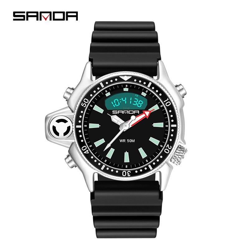 Часы наручные SANDA Мужские Аналоговые Цифровые, спортивсветодиодный светодиодные водонепроницаемые кварцевые, в стиле милитари, водонепрон...