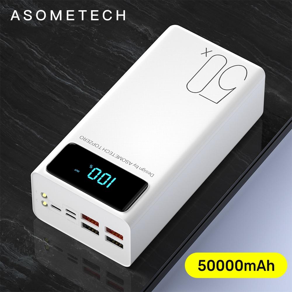 50000 mAh قوة البنك المزدوج USB شاحن سريع بطارية خارجية Powerbank 50000 mAh المحمولة شاحن آيفون 11 12 برو ماكس شاومي