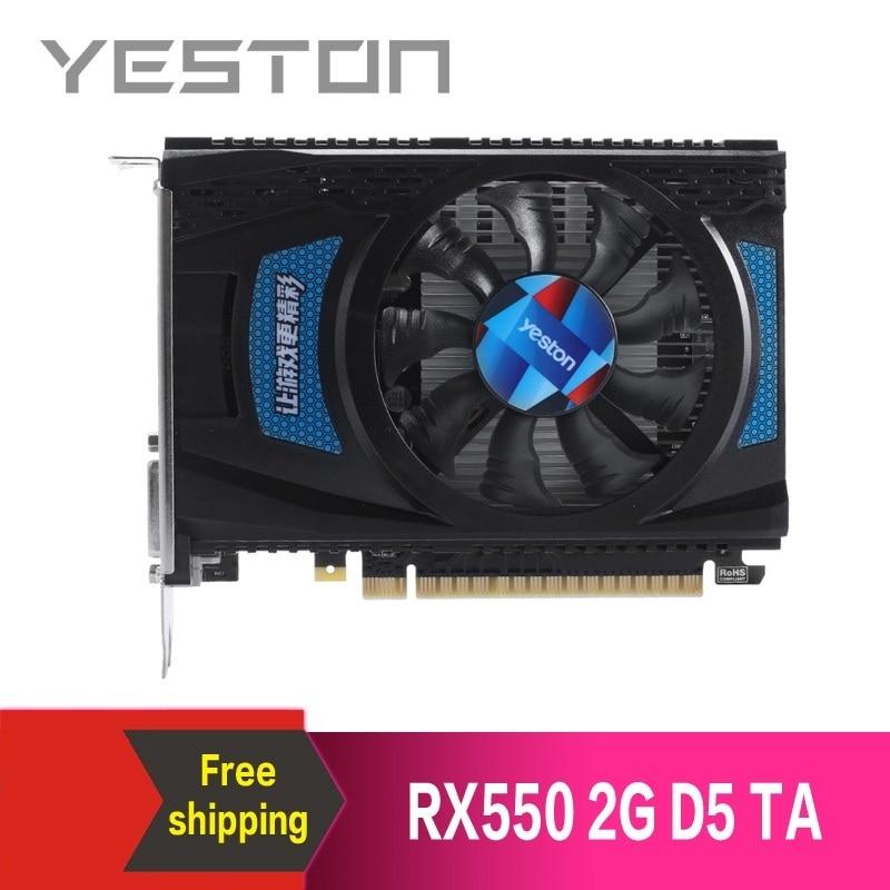 Yeston Radeon RX550 2GB GDDR5 PCI Express 3,0 DirectX12 de juegos de vídeo tarjeta de gráficos tarjeta gráfica externa para escritorio