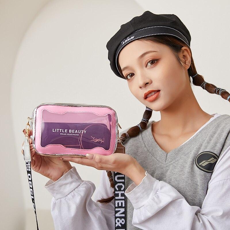 Female shoulder travel transparent bags girls crossbody women weave letter strap laser cosmetic handbags
