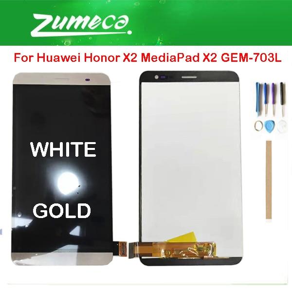 Оригинал для huawei Honor X2 MediaPad X2 GEM-703L ЖК-дисплей + сенсорный экран дигитайзер сборка Белое золото с инструментами лента