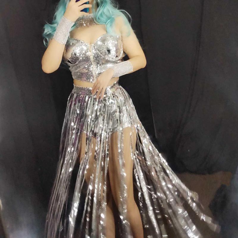 Nightclub show Jazz female singer GOGO dance group leader stage new bar DJ DS costume sexy sequin mirror tassel suit