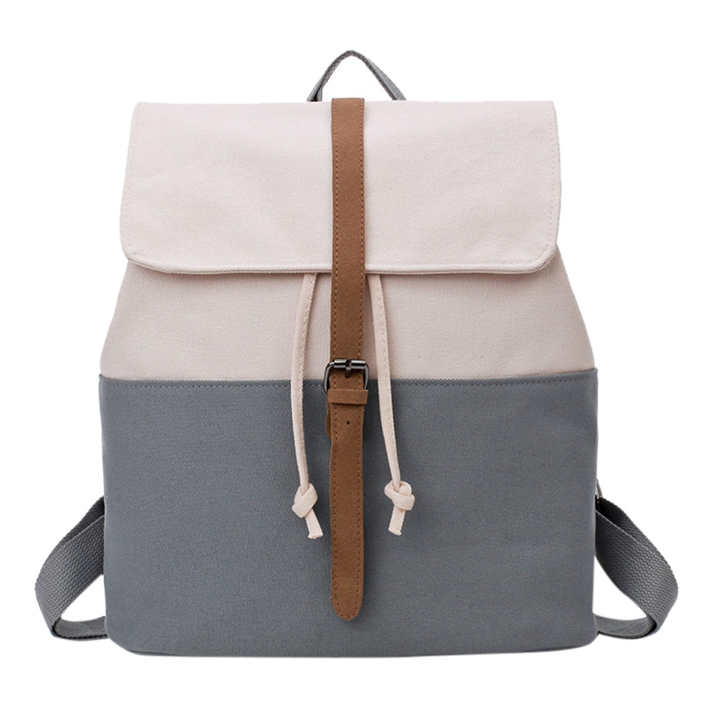 Mochila de lona Retro Sen hombros Color sólido costura bolsa de viaje nueva tendencia mujer mochila Sac A Dos Femme bolsa