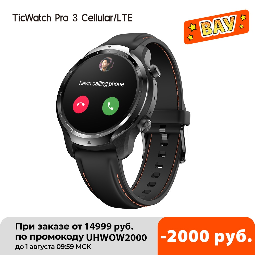 TicWatch برو 3 LTE ارتداء OS Smartwatch فودافون دي/المملكة المتحدة ساعة رياضية للرجال أنف العجل ارتداء 4100 8GB ROM 3 ~ 45 أيام عمر البطارية