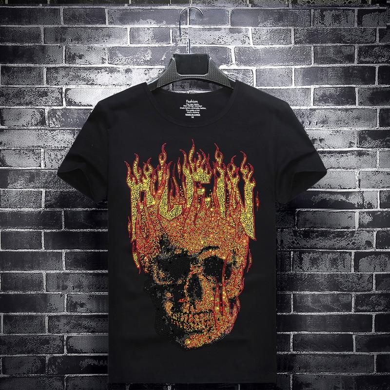 2019 feu crâne strass t-shirts hommes à manches courtes mode vêtements Streetwear O cou Modal coton t-shirts Calaveras Camiseta