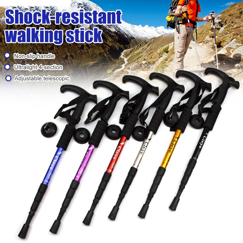 AliExpress - Anti Shock Trekking Pole Ultralight Walking Sticks Adjustable Hiking Canes Telescopic Crutch 4 Section Adjustable Camping Tools