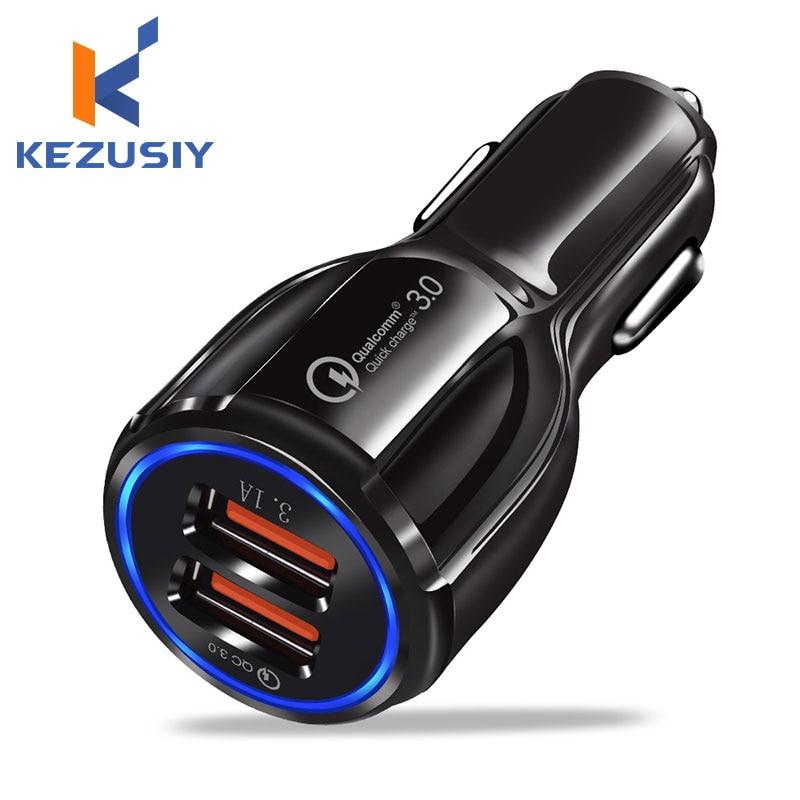 Cargador USB KEZUSIY para coche carga rápida 3,0 2,0 cargador de teléfono móvil 2 puertos USB Cargador rápido para iPhone Samsung Tablet coche-cargador