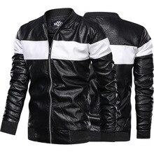 Primavera y otoño de cuero de los hombres de tendencia delgada joven guapo de cuero de PU Casual Stand Collar chaqueta de hombres abrigo