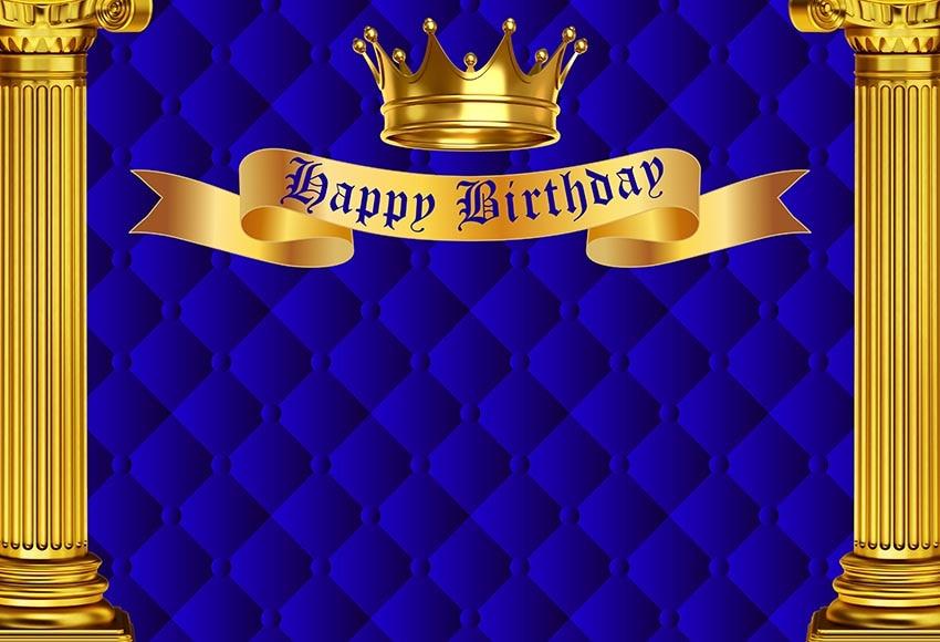 7X5 pies azul real oro feliz corona de fiesta de cumpleaños columna personalizado foto estudio telón de fondo vinilo 220cm X 150cm